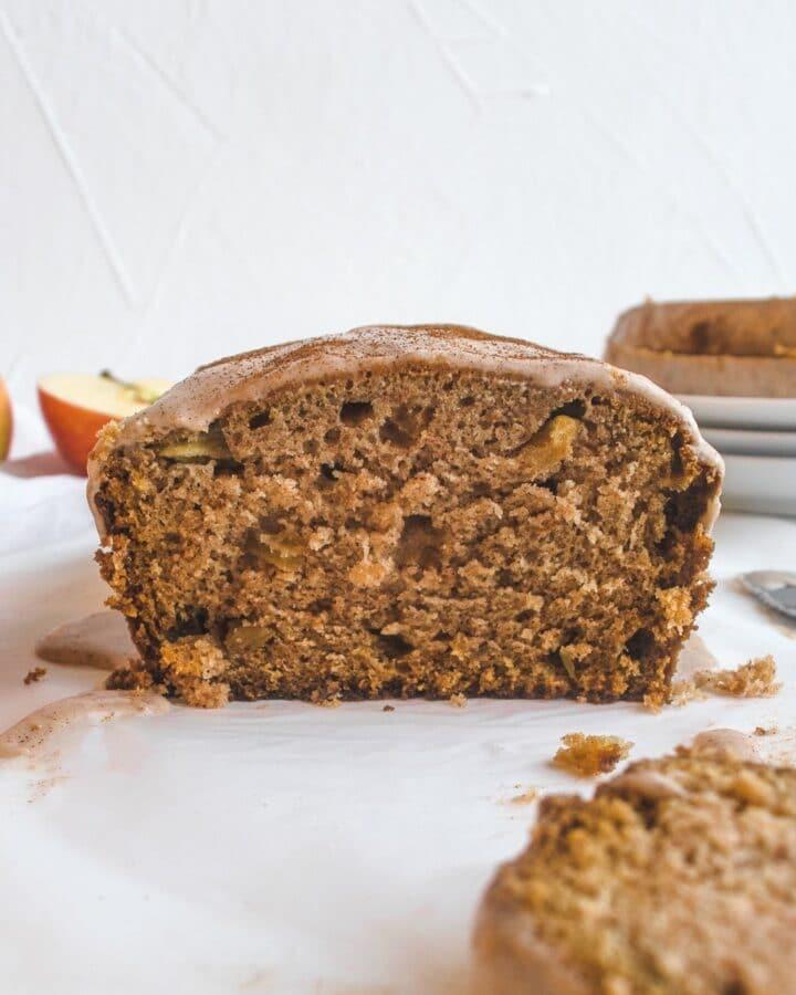 Apple cinnamon loaf with cinnamon cream cheese glaze