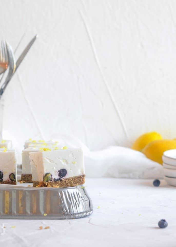 dairy free lemon blueberry cheesecake bars