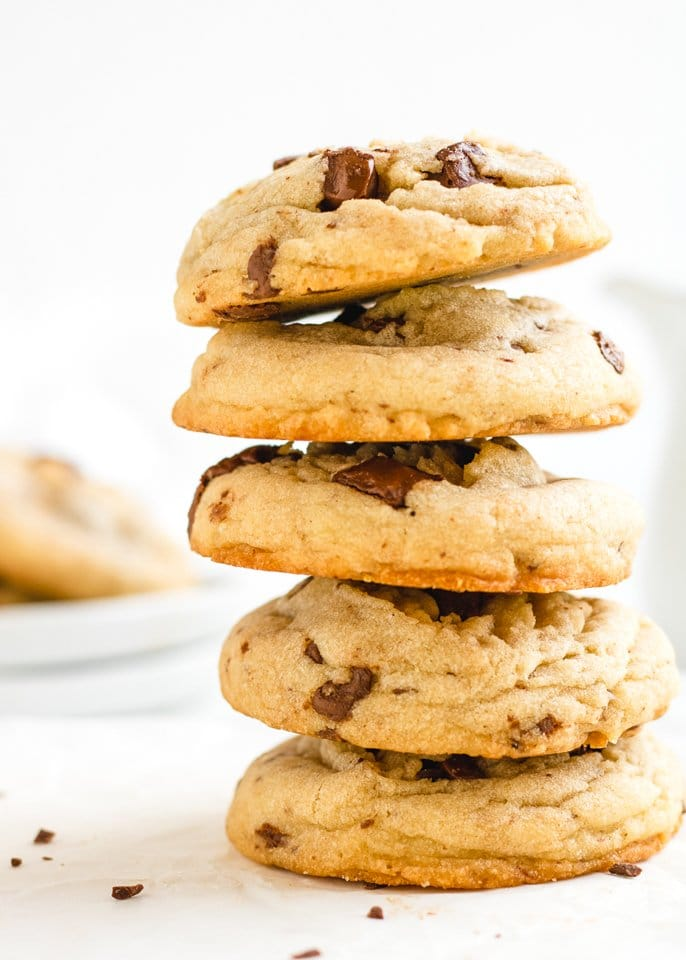 dairy free chocolate chip cookies stacked