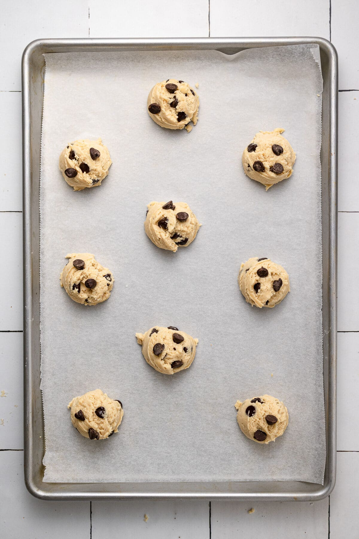 dairy free chocolate chip cookies on a tray before baking