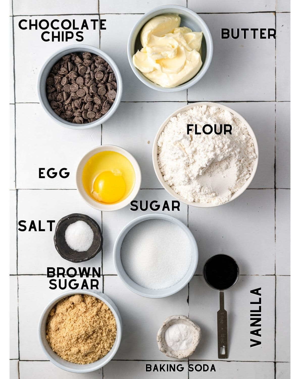 ingredients needed to make dairy free chocolate chip cookies in bowls with labels