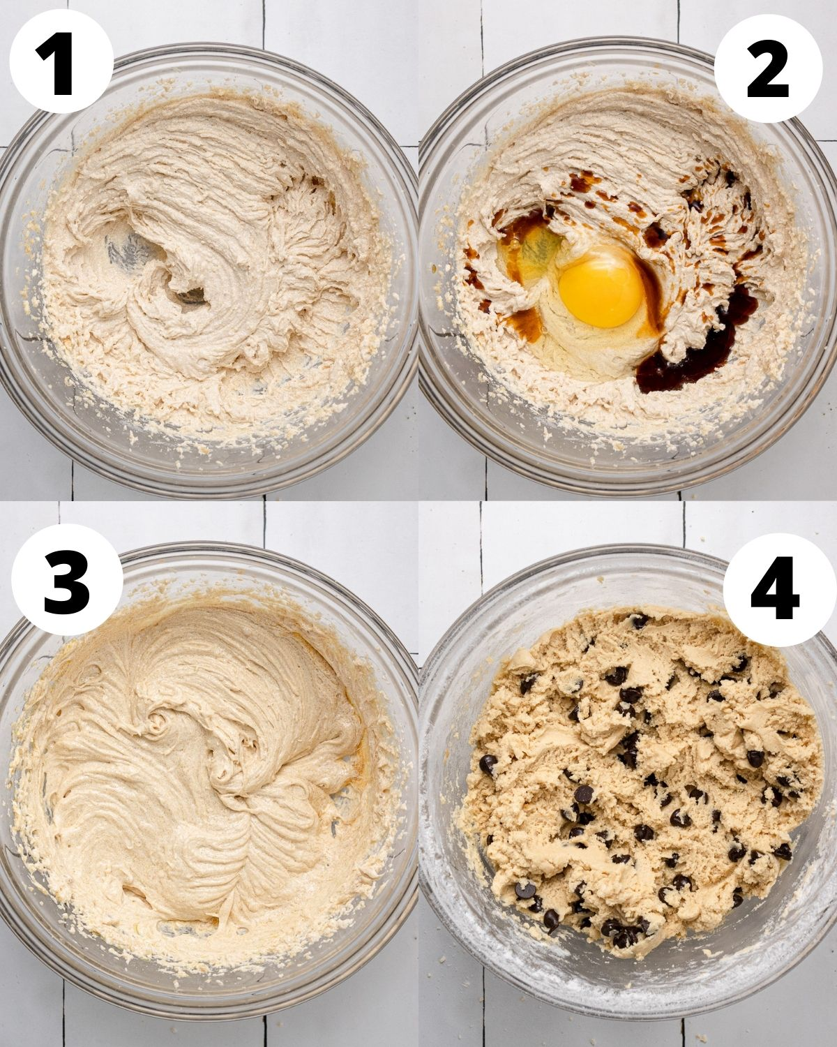 step by step process showing how to make dairy free cookies