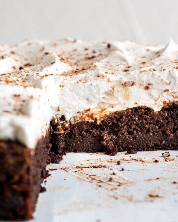 closeup of the inside of a chocolate pumpkin cake