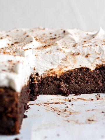 closeup of the inside of a chocolate pumpkin cake