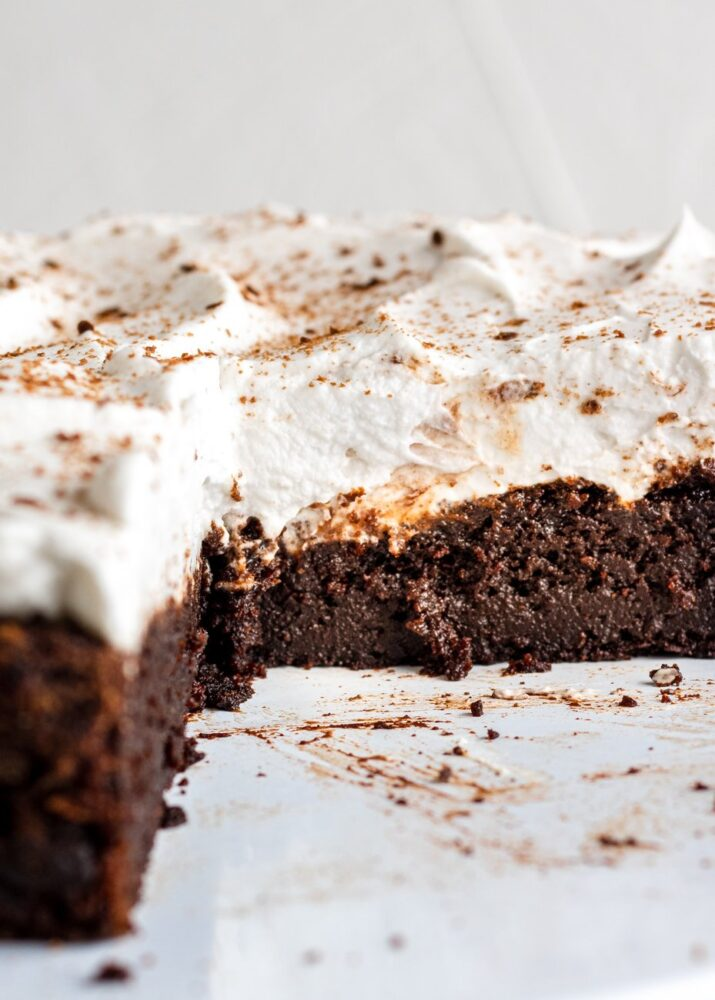 inside shot of a chocolate pumpkin cake topped with coconut whipped cream