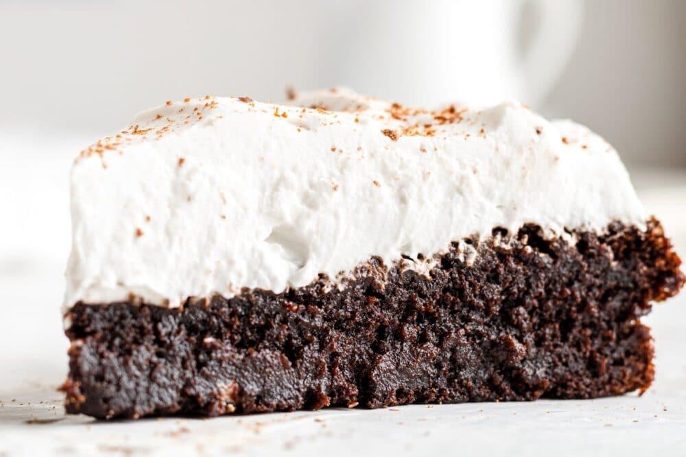 a slice of chocolate pumpkin cake