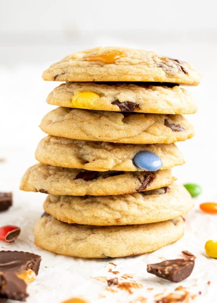 halloween candy cookies stacked on top of each other