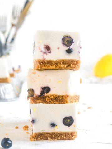 lemon blueberry cheesecake bars stacked