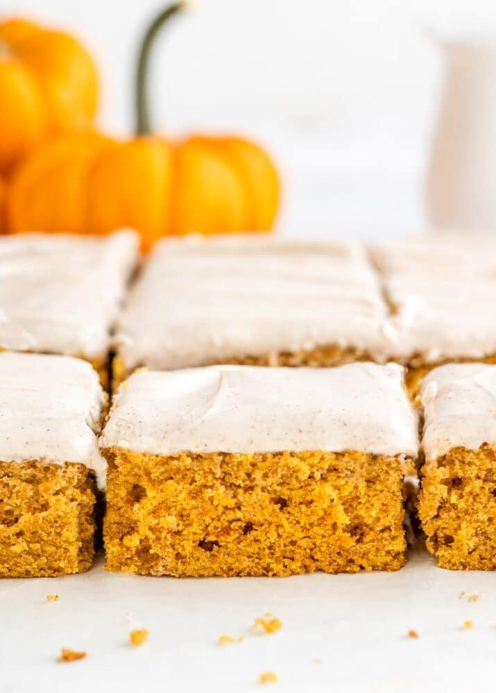 closeup of a piece of pumpkin sheet cake