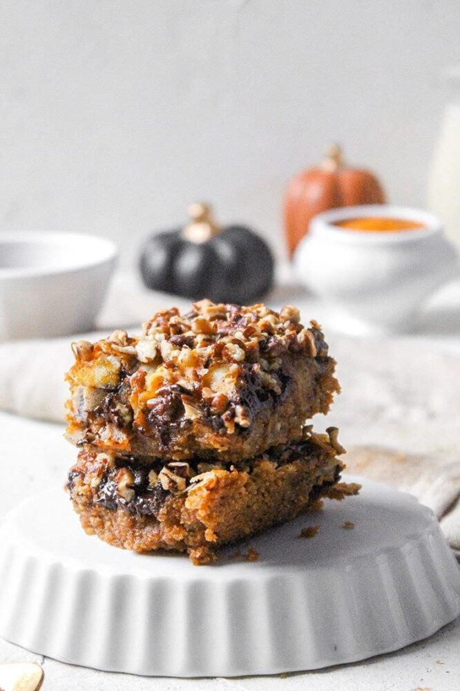 pumpkin bars stacked on top of each other