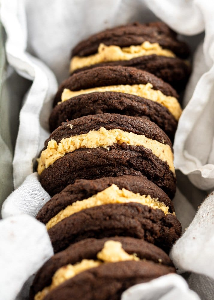 chocolate peanut butter sandwich cookies in a tray