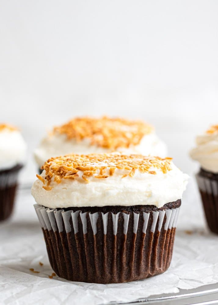 chocolate coconut cupcake on parchment paper