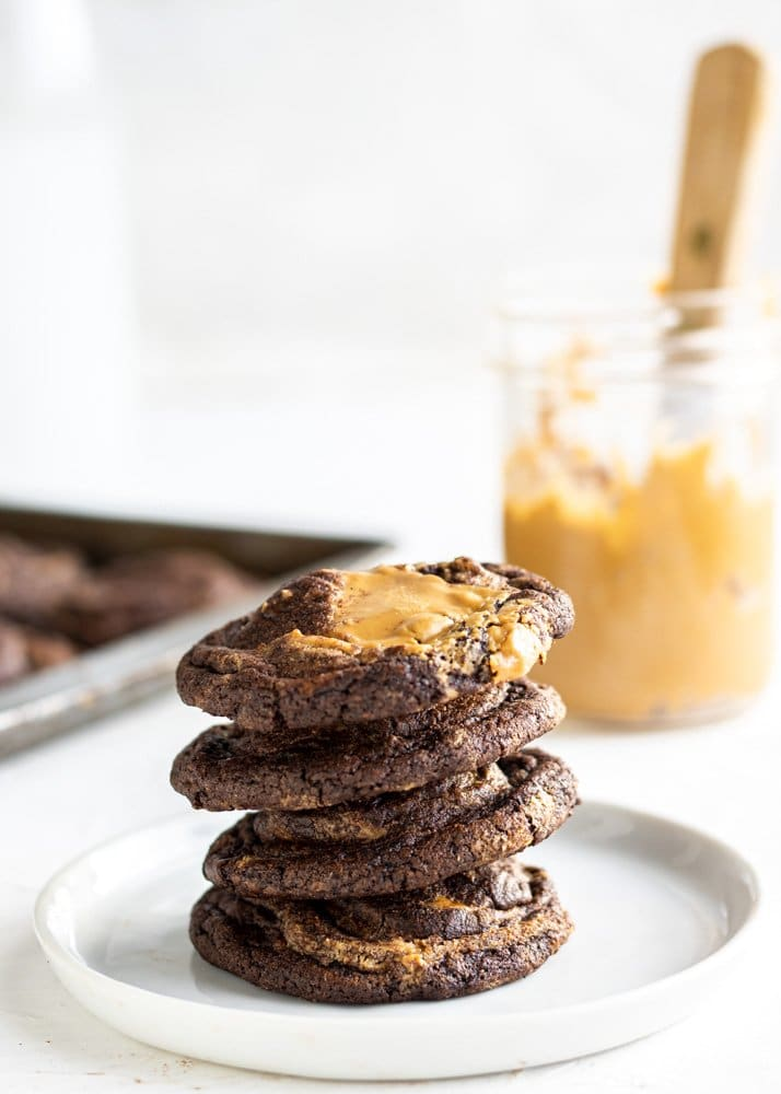 cookie butter cookies stacked on a plate