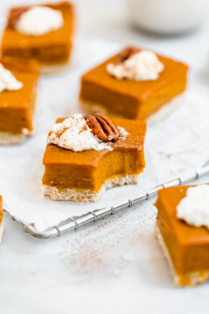 dairy free sweet potato pie bar with a bite taken out of it