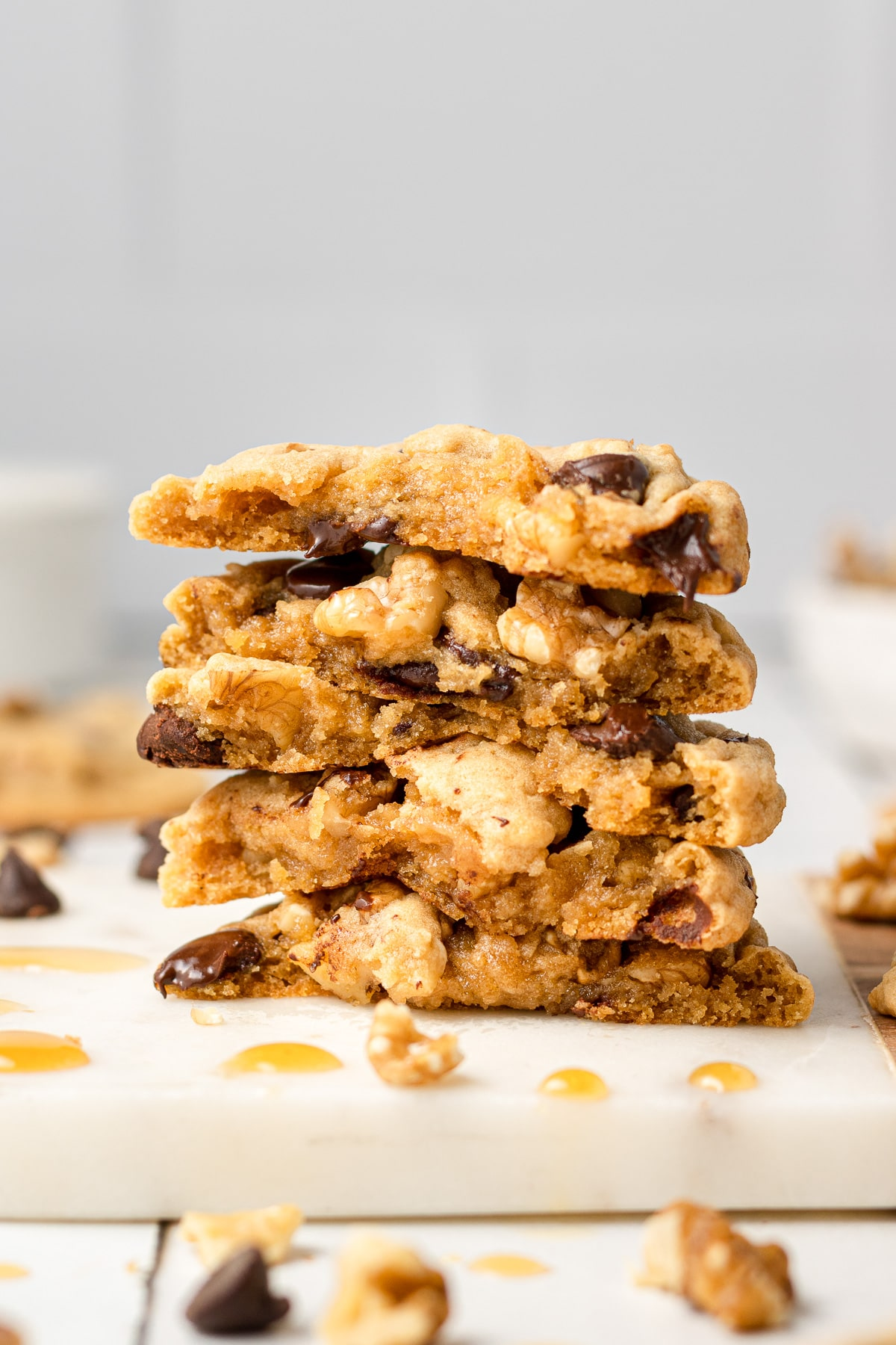 maple chocolate chip cookies stacked on each other