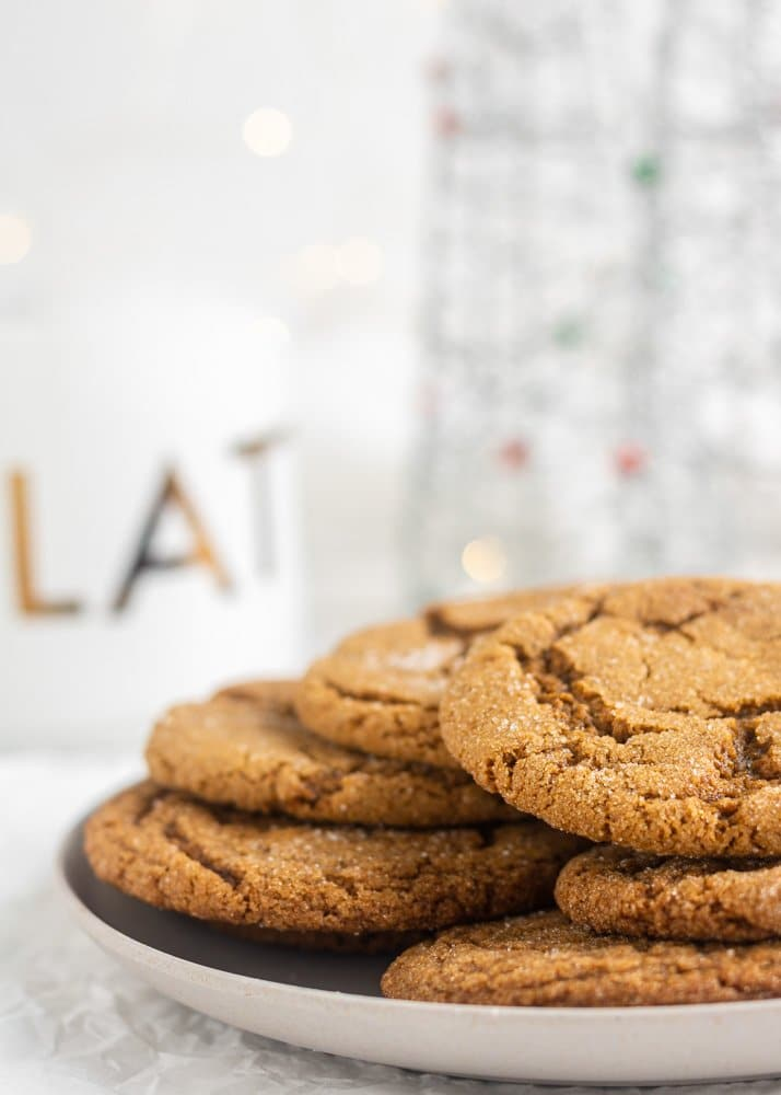 vegan gingersnap cookies on a plate