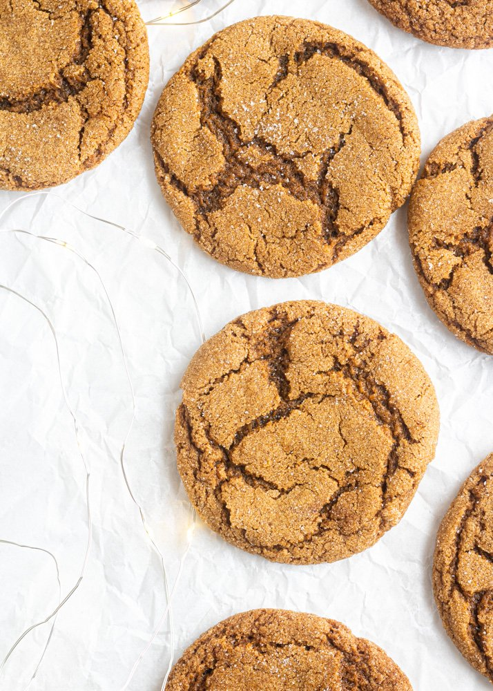 vegan gingersnaps with lights around them