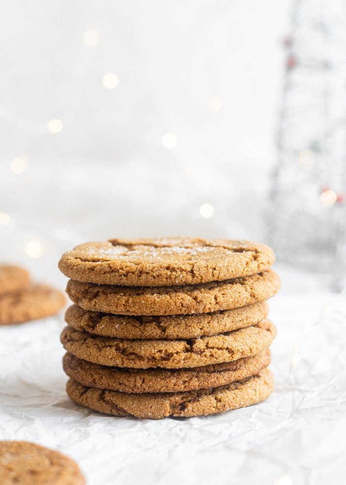 vegan gingersnap cookies stacked on each other