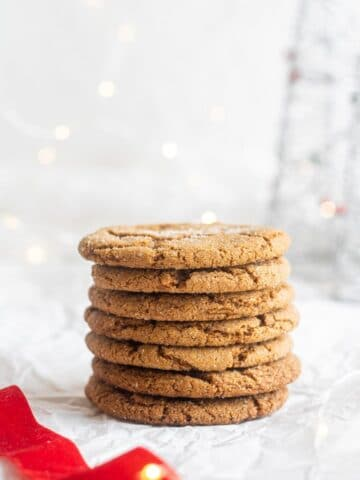 vegan gingersnaps stacked on top of each other