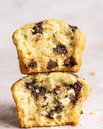 two muffins split in half and stacked on top of each other