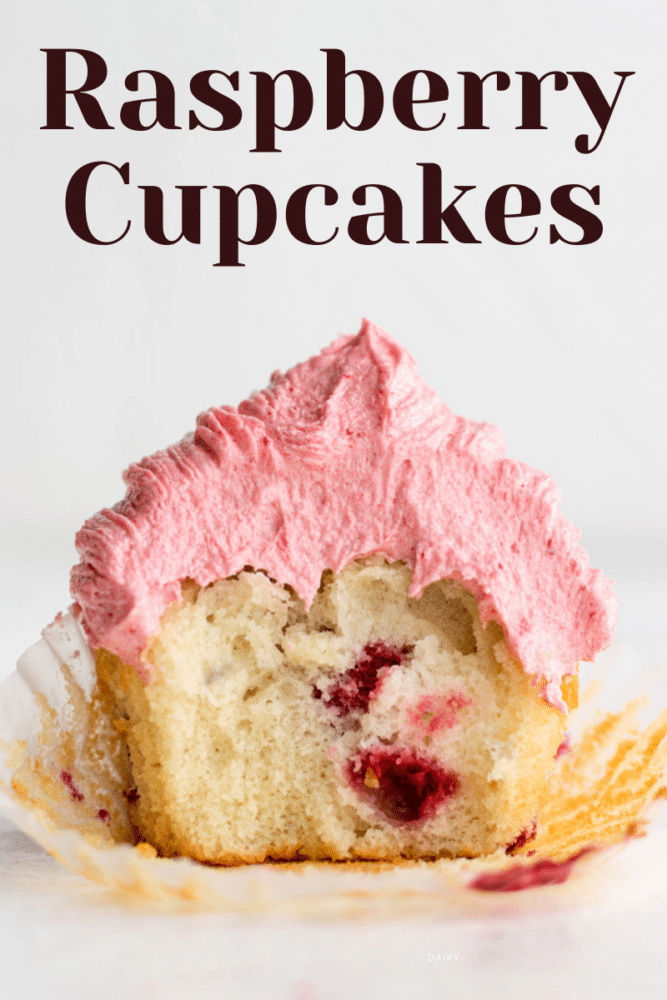 picture of a raspberry cupcake with text overlay