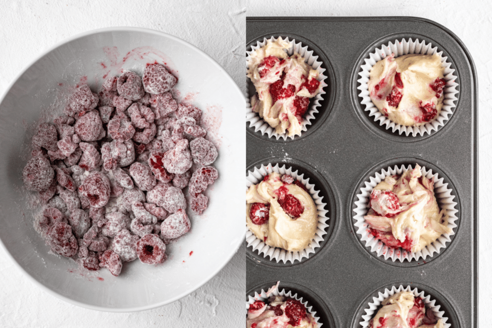 collage of process shots to make raspberry cupcakes