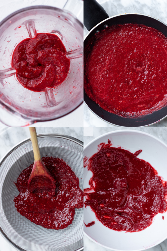 a collage of process shots for vegan raspberry frosting