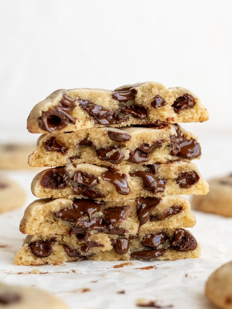 non dairy chocolate chip cookies stacked on each other and split in half
