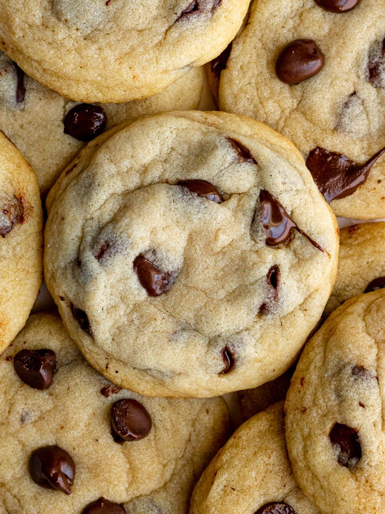 dairy free chocolate chip cookies in a pile from above