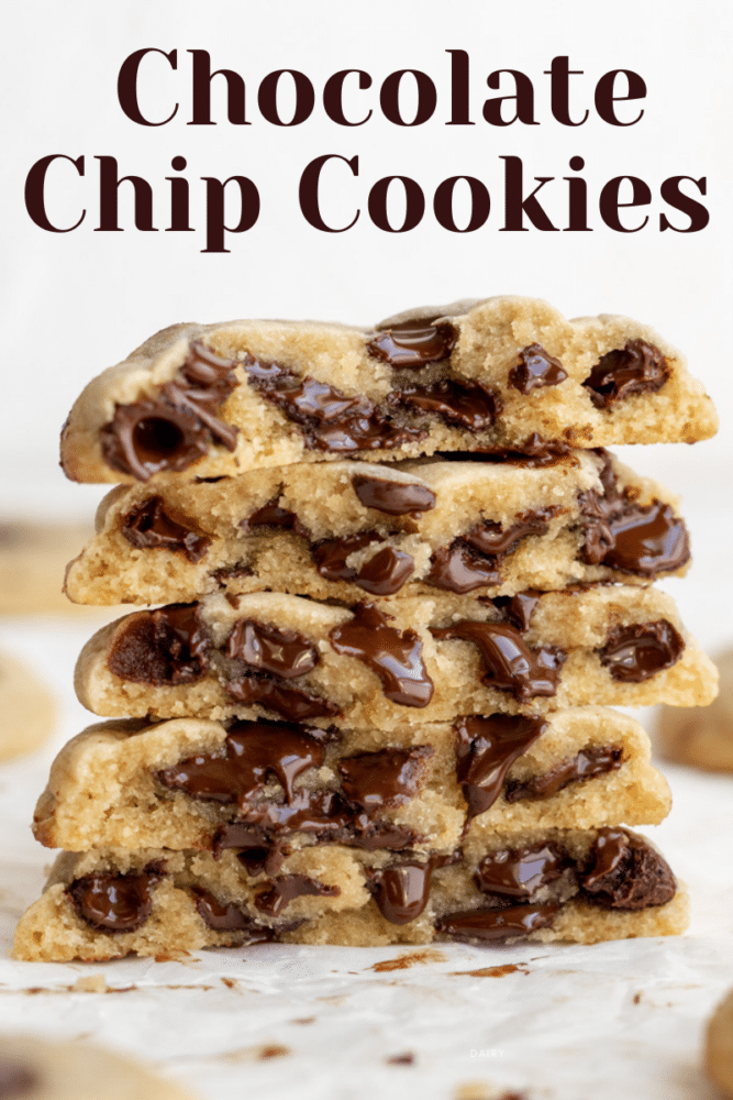 stack of chocolate chip cookies with text overlay
