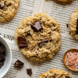 a dairy free oatmeal cookie with other cookies around it