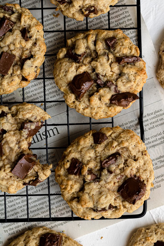 dairy free oatmeal cookies on a cooling rack