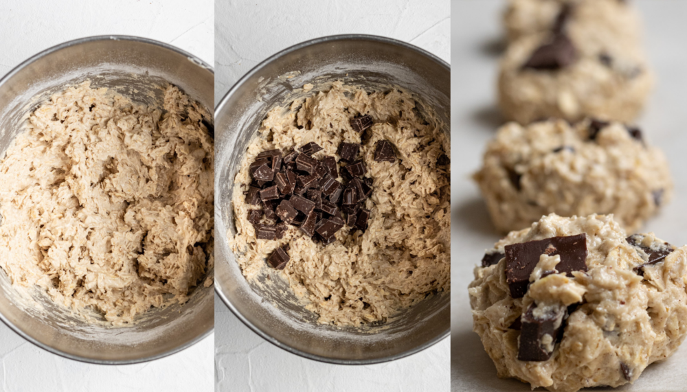 collage showing how to make dairy free oatmeal cookies