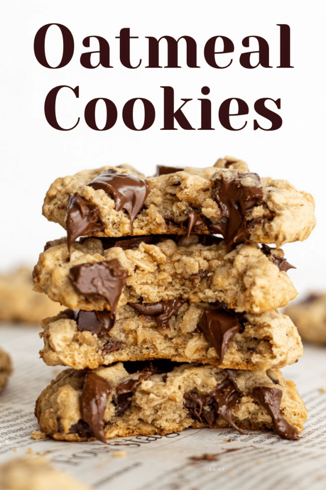 a stack of dairy free oatmeal cookies spit in half with text overlay