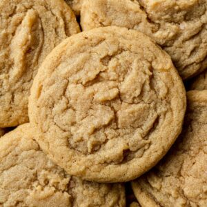 dairy free peanut butter cookies piled on top of each other