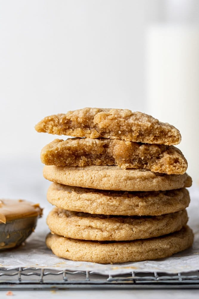 dairy free peanut butter cookies stacked