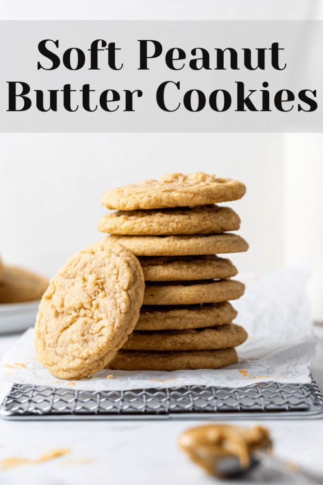 pin for pinterest with dairy free peanut butter cookies stacked and text overlay