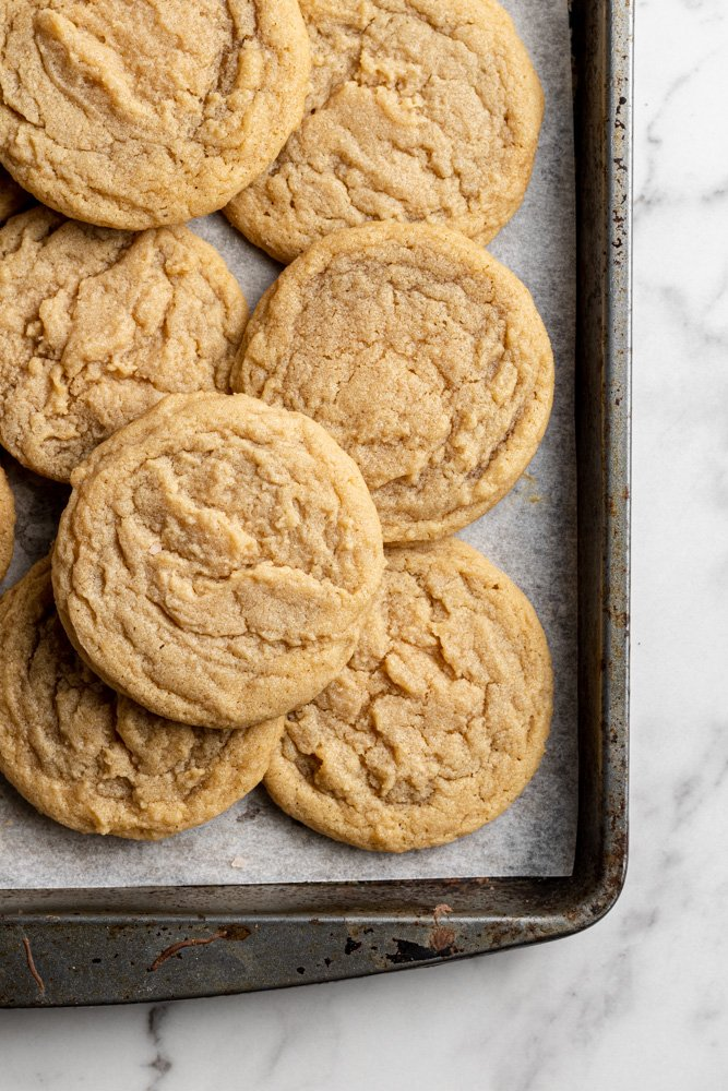 dairy free peanut butter cookies on a baking tray
