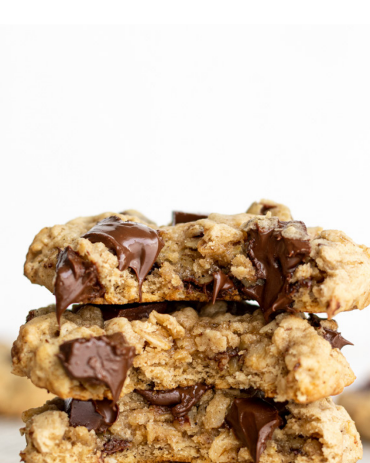 oatmeal cookies stacked with text overlay