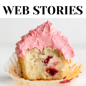 "image of cupcake with text overlay reading ""web stories"""