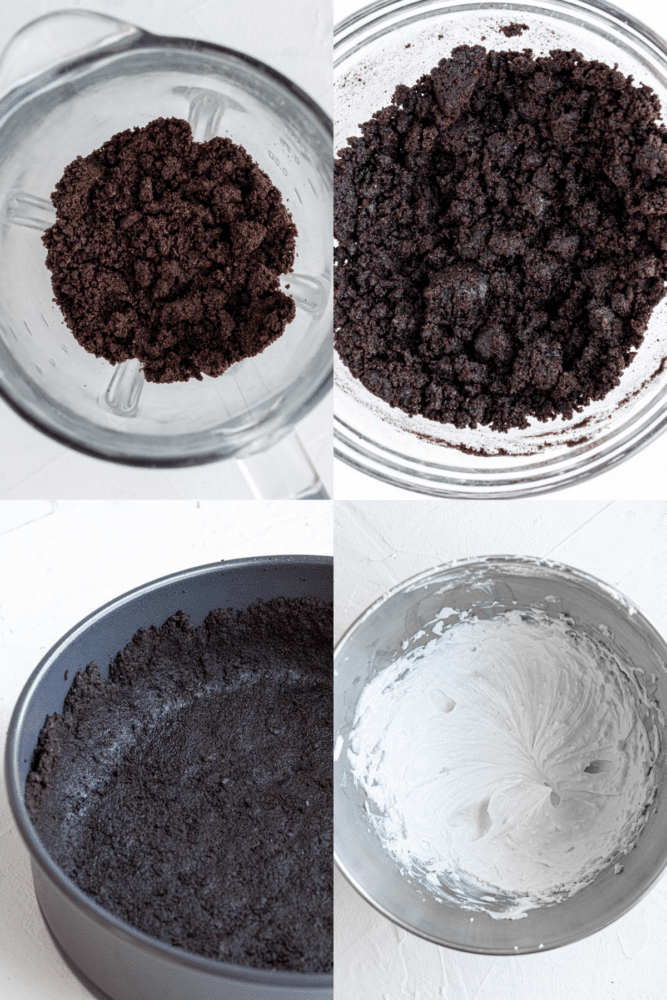 collage of process shots showing how to make oreo crust