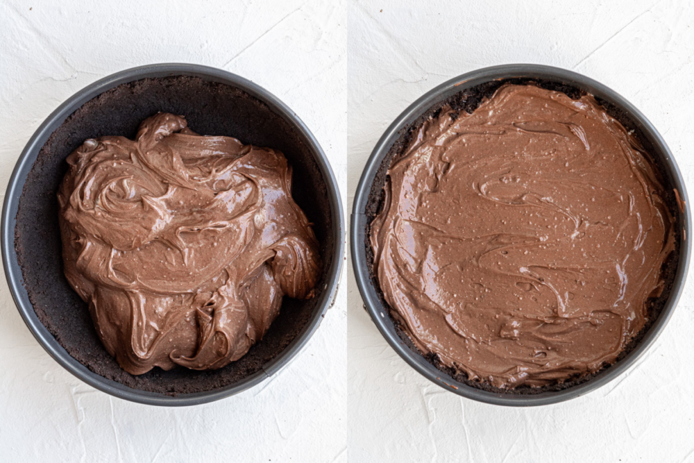 collage of process shots showing how to make vegan chocolate cheesecake