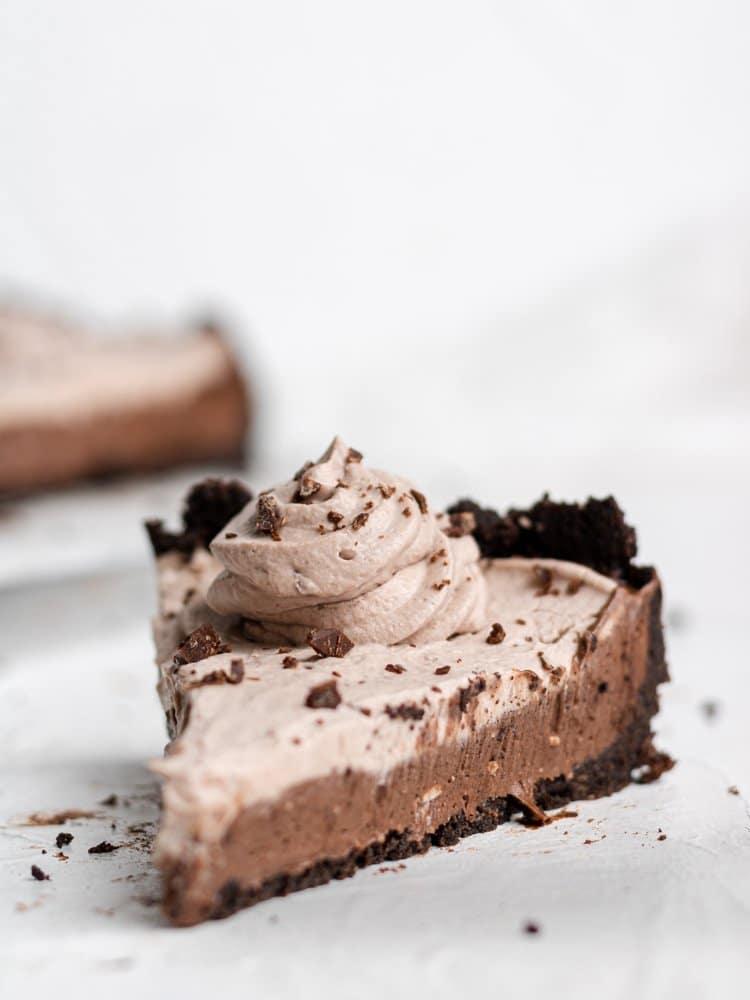 s slice of vegan chocolate cheesecake