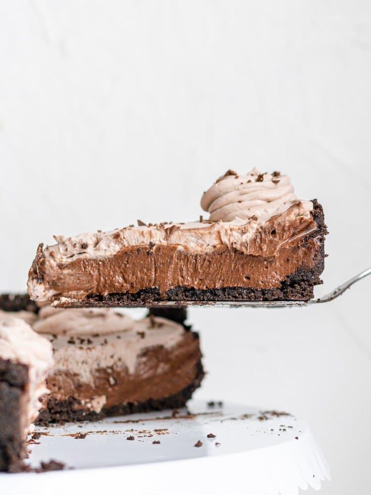 a slice of vegan chocolate cheesecake