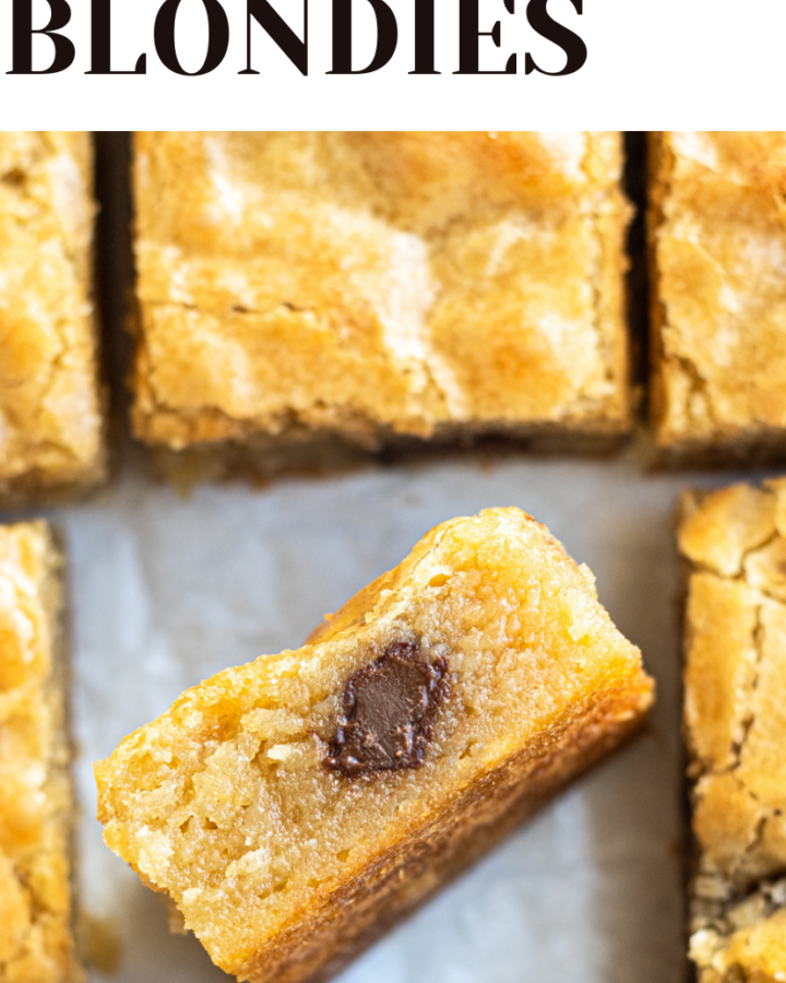 image of chocolate chunk blondies with text overlay