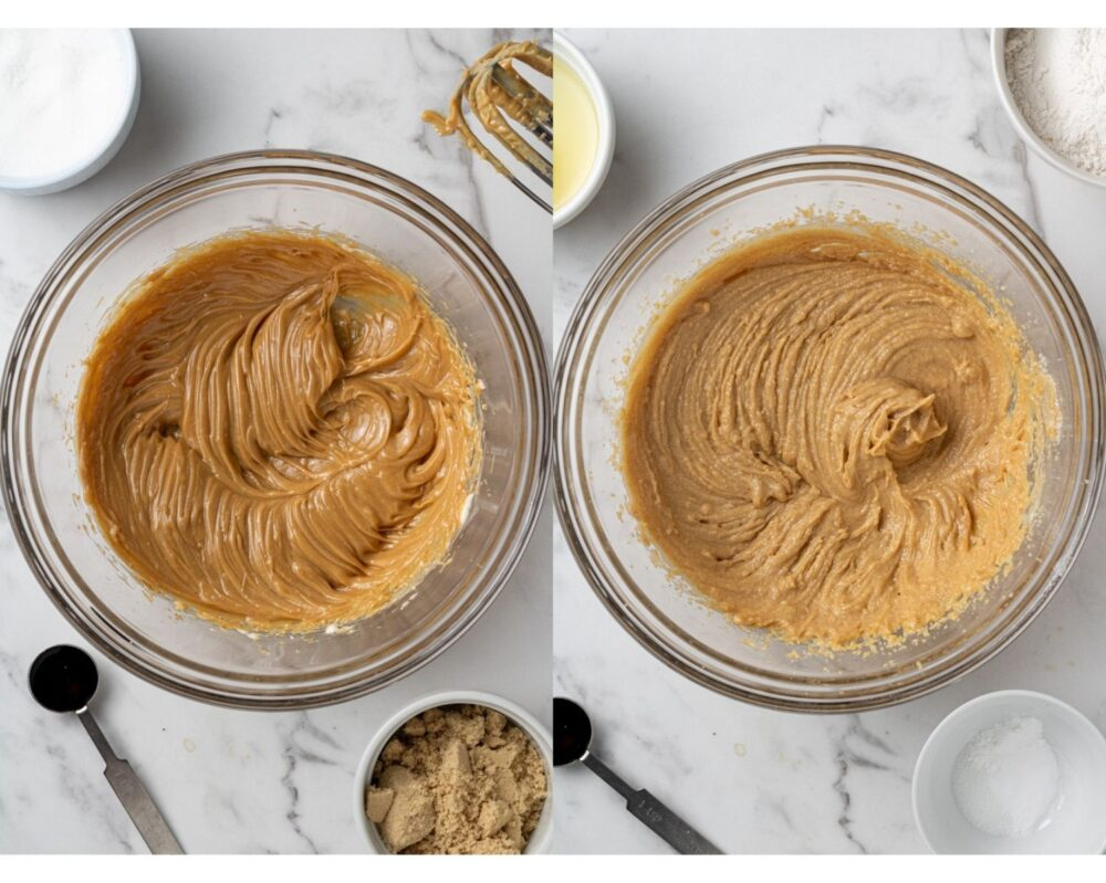 collage of process shots of how to make dairy free peanut butter cookies
