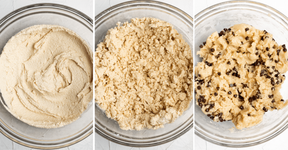 process shots showing how to make vegan cookie dough bites
