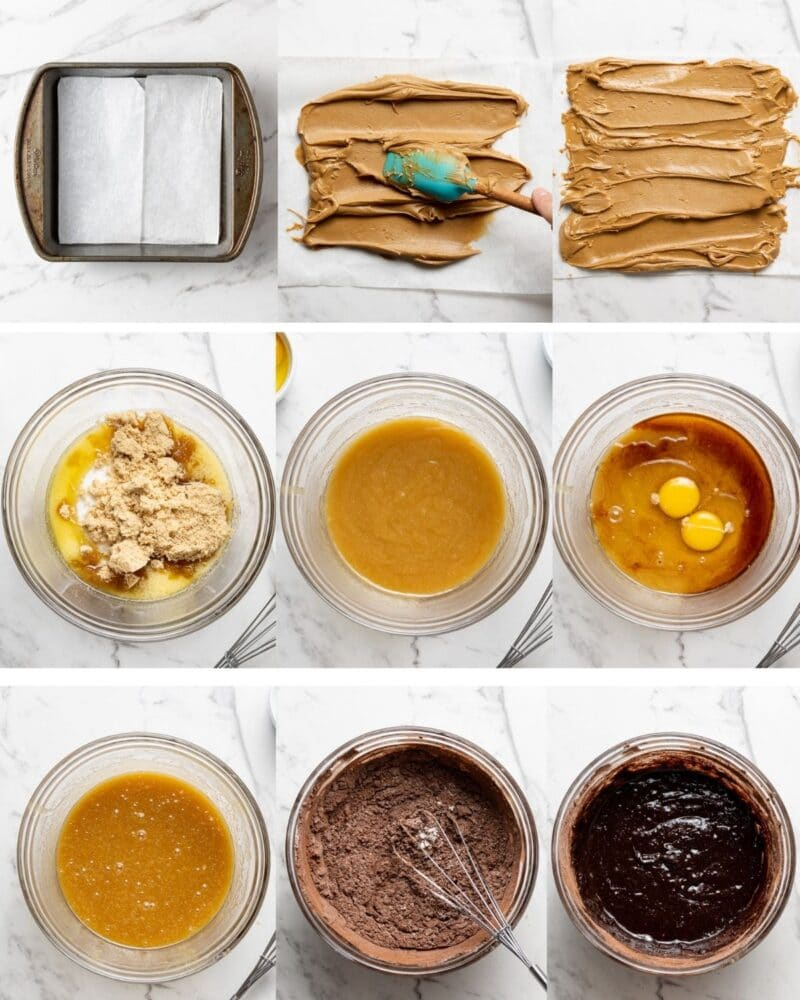 process shots showing how to make biscoff brownies step by step