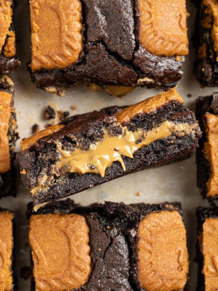 biscoff brownies sliced