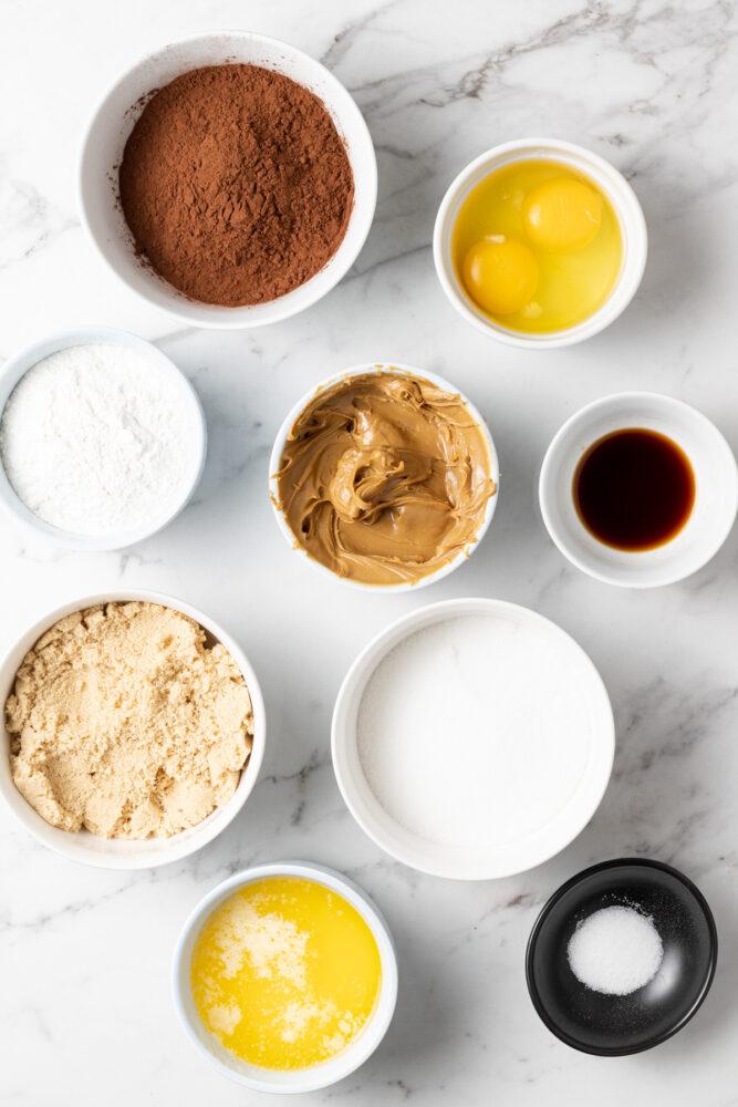 ingredients to make biscoff brownies